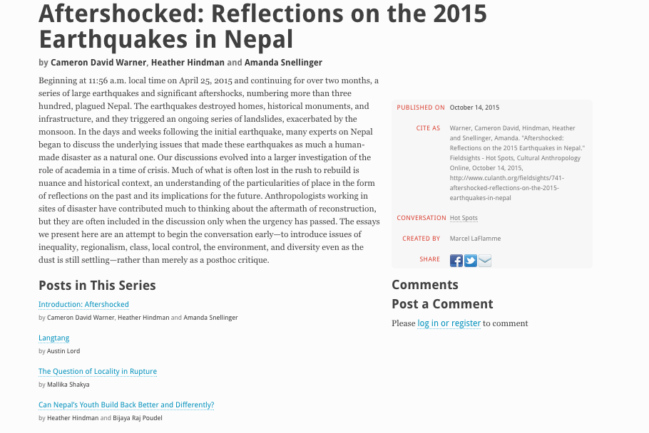 """Screenshot of the Cultural Anthropology Hotspots collection, """"Aftershocked: Reflections on the 2015 Earthquakes in Nepal"""""""
